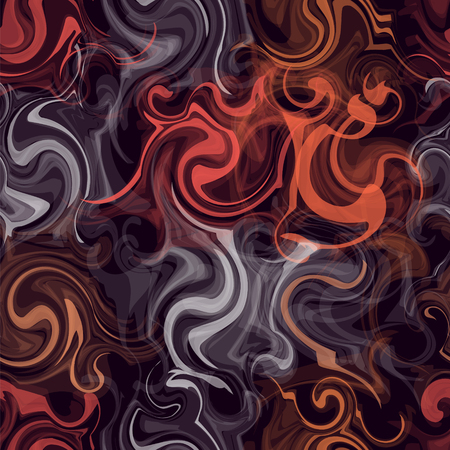 linoleum: Seamless pattern with colorful transparent grunge  swirled chaotic stripes on dark background