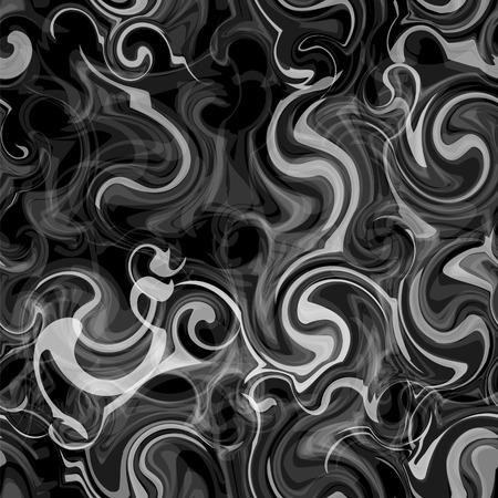smoky: Blurred seamless pattern with grunge swirled smoky white stripes on black background