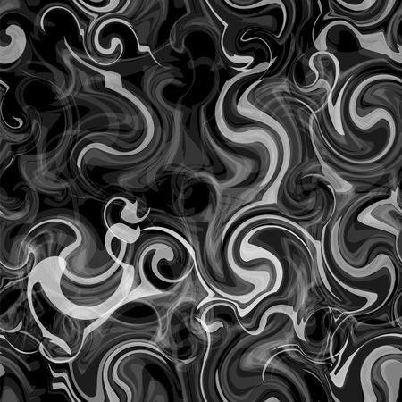 Blurred seamless pattern with grunge swirled smoky white stripes on black background