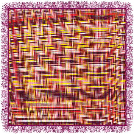 woollen: Colorful grunge striped and checkered weave tablecloth with fringe isolated on white