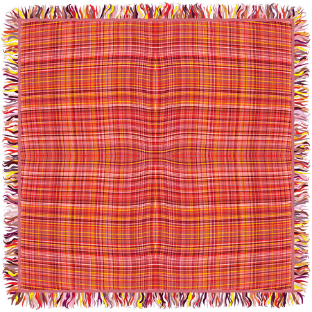 fringe: Colorful grunge striped and checkered weave tablecloth with fringe isolated on white