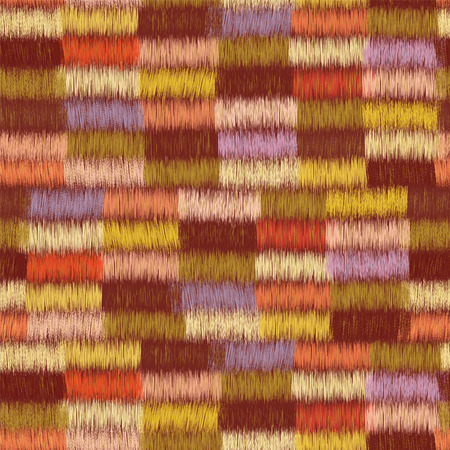 rows: Cloth seamless pattern with row of colorful grunge striped rectangular elements