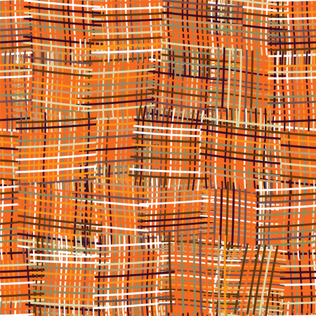 Seamless pattern with grunge striped colorful square elements on orange background