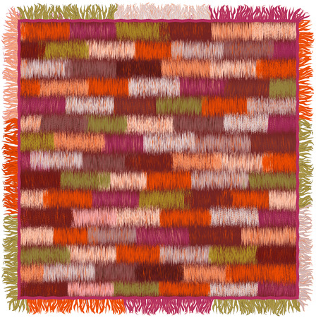 bedspread: Carpet with colorful grunge striped geometric pattern and fringe isolated on white background Illustration