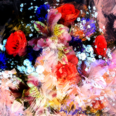 bouquets: Stylized bouquet of roses,lily,cornflowers on grunge stained blurred colorful backdrop