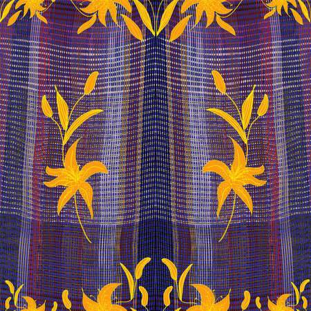 chequered drapery: Seamless grunge striped,checkered,wavy colorful pattern with abstract golden lilies for tapestry,drapery,plaid Illustration