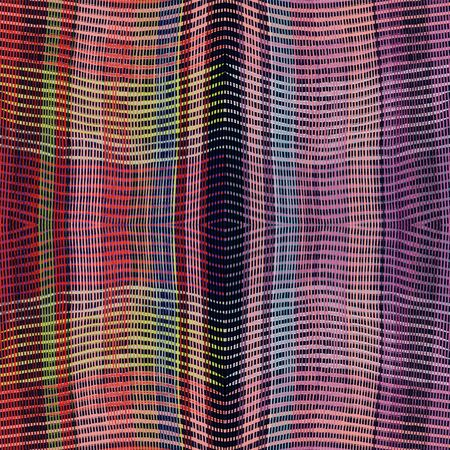 chequered drapery: Cloth weave colorful grunge striped wavy seamless pattern for tapestry,plaid,carpet