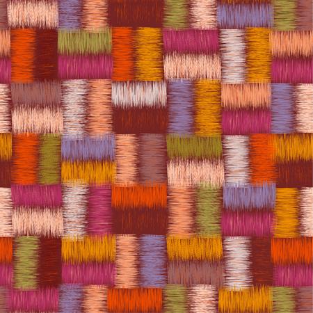 interweave: Checkered grunge striped interweave colorful seamless pattern