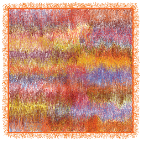 mohair: Fluffy carpet with weave  grunge striped, wavy colorful pattern isolated on white Illustration