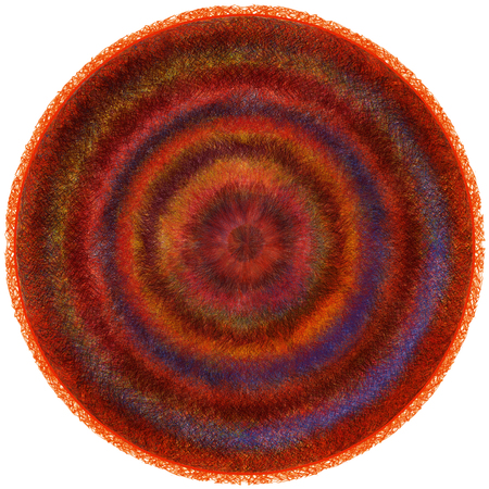 blanket: Fluffy round weave carpet with grunge striped circular wavy colorful pattern isolated on white