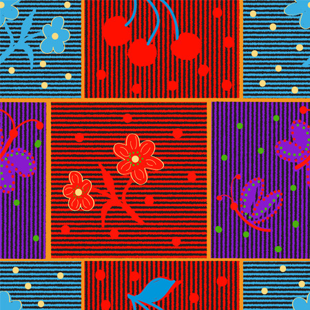red cloth: Quilt checkered  striped colorful seamless pattern with applique of stylized flower, butterfly, cherry