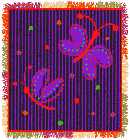 fringe: Colorful weave carpet with vertical zigzag stripes,applique of stylized butterfly and fringe