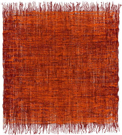 webbing: Weave grunge striped interlaced carpet with fringe in orange,brown colors