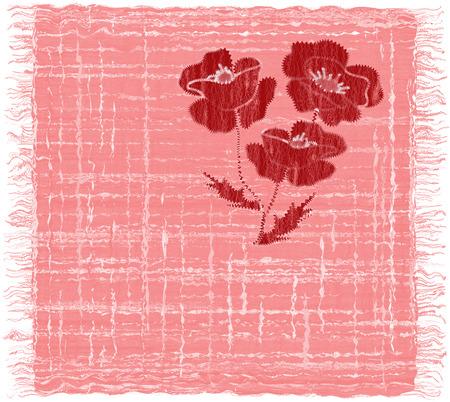 servilleta de papel: grunge de rayas de color rosa servilleta rectangular con apliques de la armadura de la amapola roja y la franja