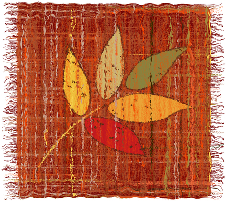 chequered drapery: Weave grunge striped colorful tapestry with applique of leafs Illustration