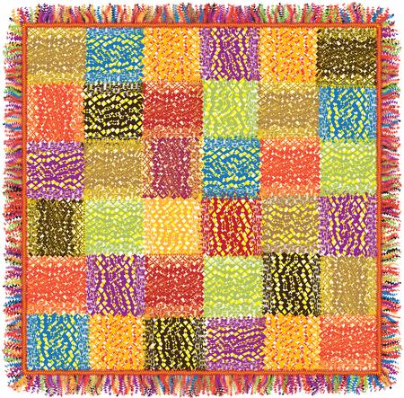 motley: Colorful grunge striped patchwork motley carpet with fringe Illustration