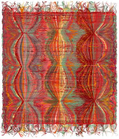 arazzo armatura verticale con gunge strisce ondulato modello colorato e frangia
