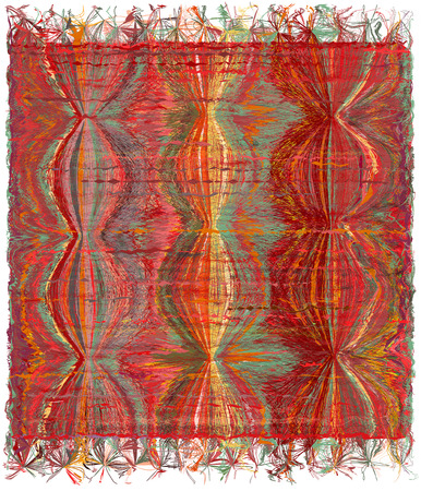 chequered drapery: Vertical weave tapestry with gunge striped wavy colorful pattern and fringe Illustration