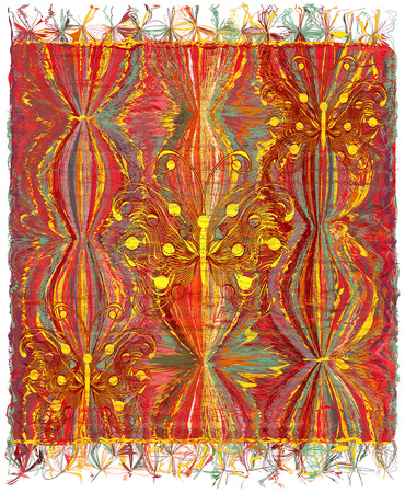 chequered drapery: Vertical weave tapestry with striped wavy colorful pattern,applique of abstract golden butterflies and fringe Illustration