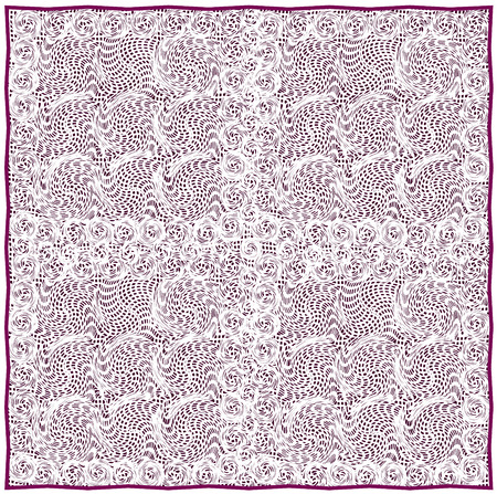 flaxen: Lacy serviette with grunge striped and swirled pattern on violet backdrop and violet border