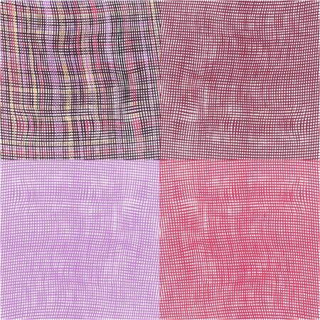 Set of four grunge striped and checkered woven cloth  background