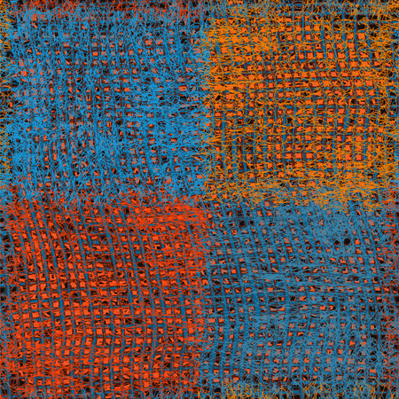 Seamless woven cloth pattern with grunge striped and checkered square elements in blue,orange,brown colors