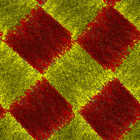 Diagonal checkered seamless pattern with grunge striped square elements in red,yellow,black colors Illustration