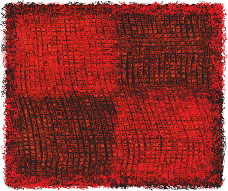 red rug: Weave grunge striped and checkered rectangular rug in black and red colors