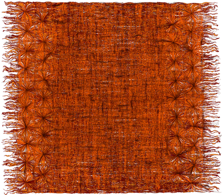 Weave grunge striped shaggy ornamental tapestry with fringe in orange,brown colors