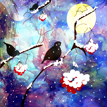 Night landscape with branches of mountain ash,ashberry,birds on grunge stained cloudy sky background
