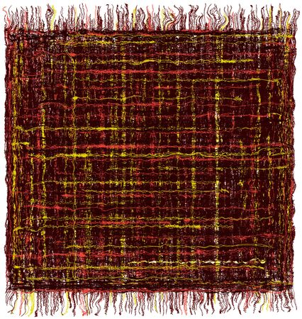 chequered drapery: Square grunge striped colorful tapestry with fringe