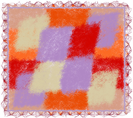 chequered drapery: Shaggy tapestry with colorful weave fluffy elements and fringe isolated on white