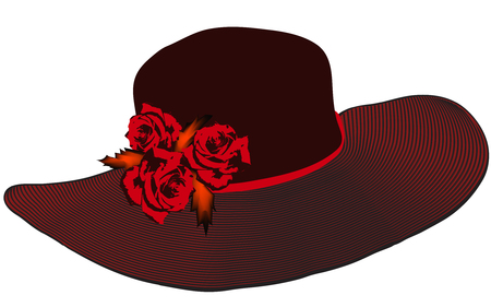 brim: Elegant women hat with striped brim and roses in black and red colors isolated on white