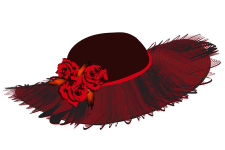 brim: Elegant women hat with netting wavy brim and roses in black and red colors isolated on white
