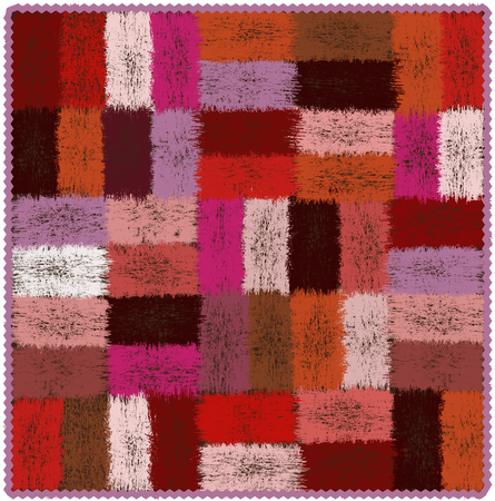 carpeting: Motley tapestry with grunge woven rectangular colorful elements and wavy fringe