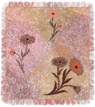rug texture: Colorful weave carpet with floral applique and fringe in pastel colors isolated on white backdrop. Illustration