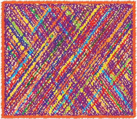 Rectangular weave rug with colorful diagonal grunge striped checkered pattern and fringe Illustration