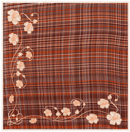 chequered drapery: Woven  grunge striped and checkered square napkin with floral applique and fringe in orange ,white ,brown colors.