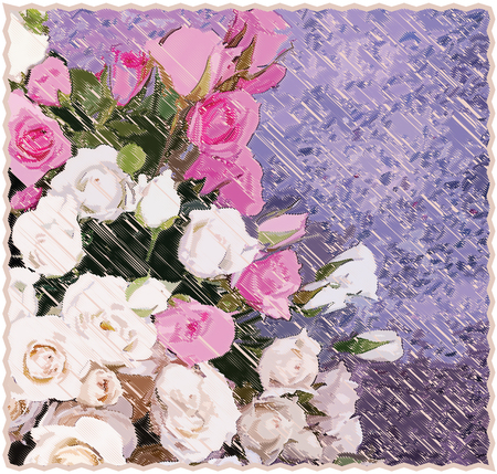 chequered drapery: Tapestry background with  stylized bouquet of roses on grunge striped diagonal backdrop in pastel colors