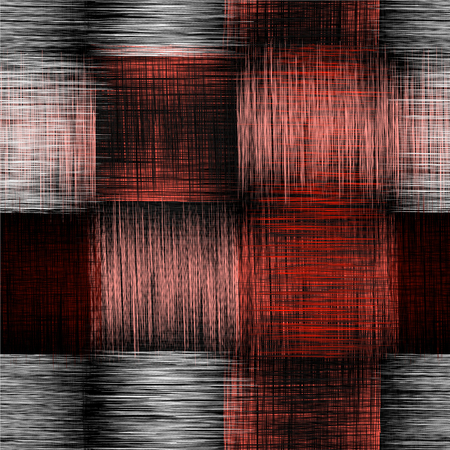 Seamless checkered pattern with grunge striped intersecting square elements in red,black, white colors Illustration