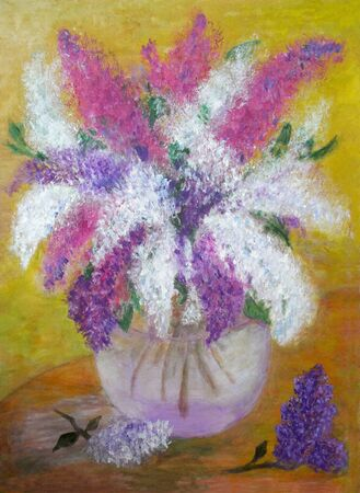 pictorial art: Pictorial greeting card with bouquet of vivid lilas in glass vase