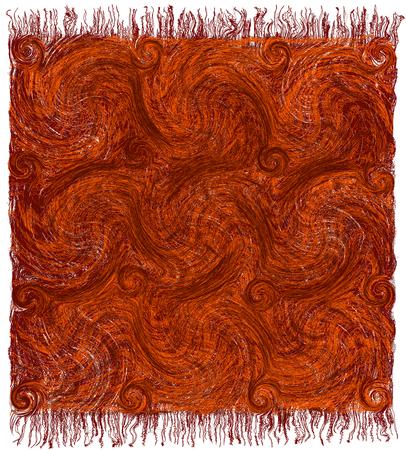 Vloermat met grunge gestreept en golvend patroon en franje in bruine, oranje kleuren