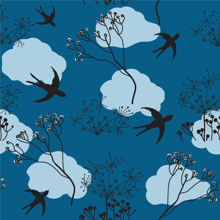 Seamless pattern with flying swallow and stylized dry flowers on cloudy sky