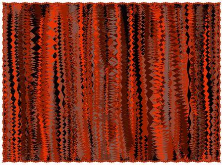 Grunge striped rug in orange,brown,black colors with fringe isolated on white Illustration