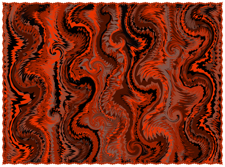 Rug with grunge striped and wavy pattern  in orange,brown,black colors with fringe isolated on white