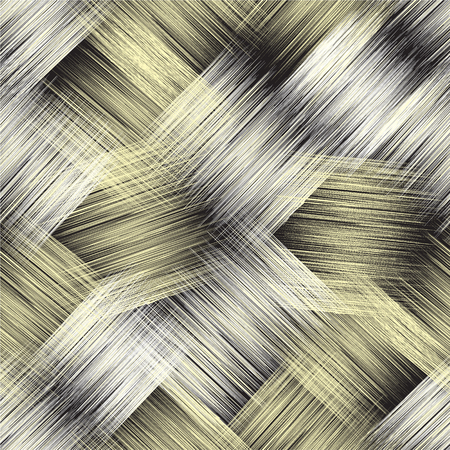 Seamless pattern with diagonal grunge striped intersected elements for web design inyellow,white,black colors Ilustração