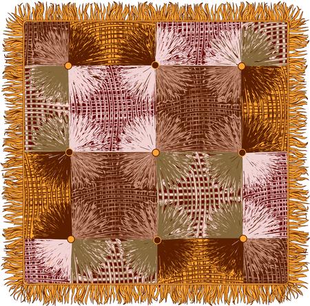 Bont tapijtwerk met grunge gestreepte vierkante en cirkelelementenvector