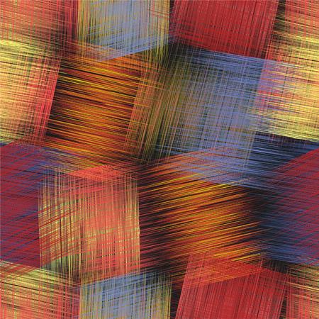 Het naadloze kleurrijke patroon met gestreepte grunge snijdt rechthoekige elementen in roze, blauwe, oranje, zwarte kleuren voor Webontwerp