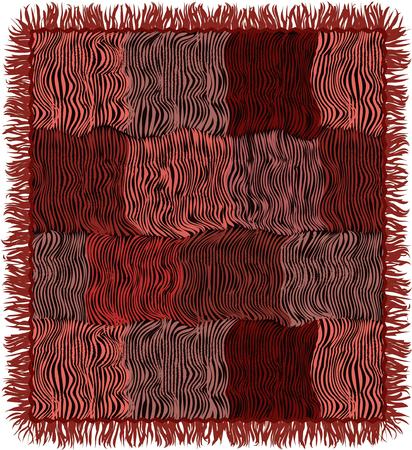 Grunge gestreept gewatteerd tapijt met rand in bruine, roze, violette, zwarte kleuren die op wit worden geïsoleerd Stock Illustratie