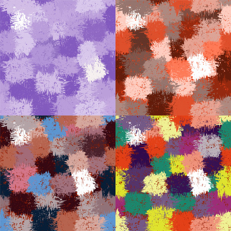 Set of colorful grunge stained seamless patterns for web design